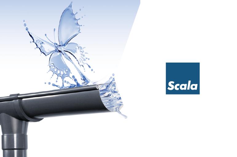 PVC lietus ūdens noteksistēma Scala. Vinteko.